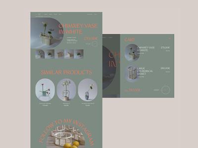 Ceramics store - website concept webdesign minimal green orange vases store pottery design e-commerce ceramics ux ui figma