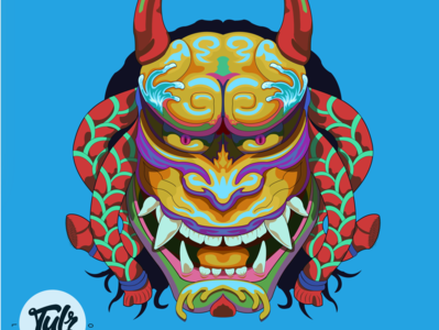 My Version of Hanya Mask mask japanese art adobe illustrator vector illustration flat design