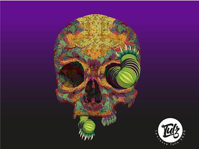 INFECT-DEATH dead virus worm death skull art digital art colorful digital decorative art adobe illustrator vector illustration design flat
