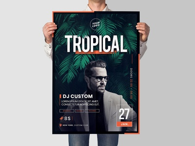 Tropical Party Flyer | 5 size techno minimal dj palm plant summer print event cover flyer template poster party tropcial