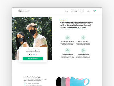 FibraMask —Reusable Face Mask Handmade In Europe web branding ui wordpress woocommerce online shop ecommerce facemask