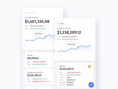Netfolio — Multi-Asset Net Worth Portfolio ui design uidesign ui tracker stocks portfolio financial finance ethereum cryptocurrency commodities bitcoin