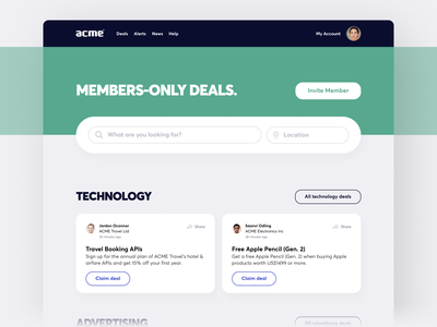 Member's Only Marketplace cards search bar search ui design uidesign ui deals marketplace