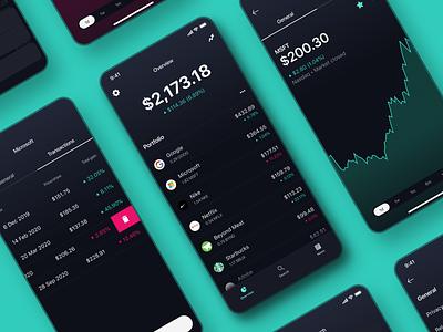 Stocks App portfolio fintech ui design ui pink green dark theme dark mode dark app dark ui ios mobile app mobile charts finance trading app trading stocks