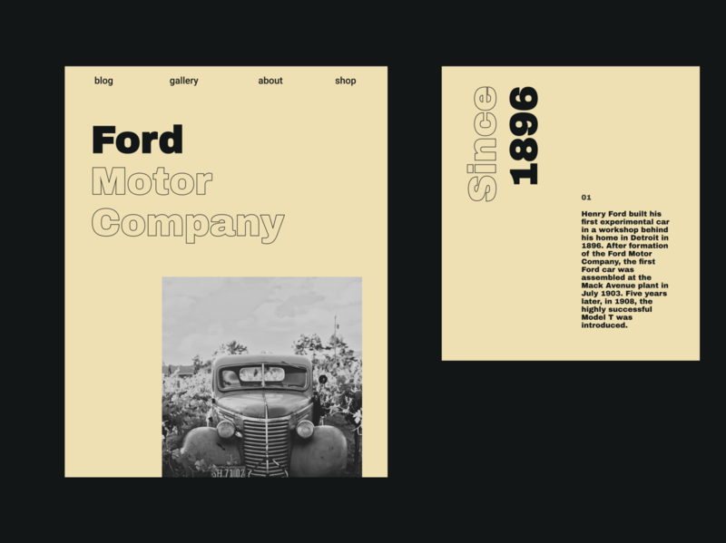 Ford Motor Company minimal website typography logo ui ux design web