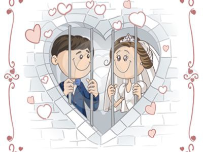 Funny wedding card wedding couple card design invitation template funny jail love drawing doodle vector
