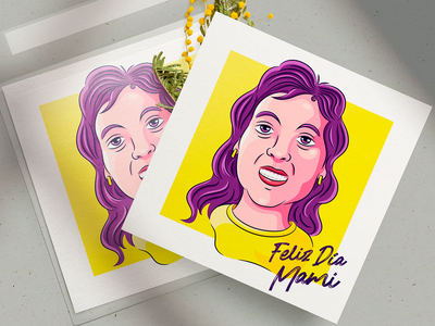 Ilustración / Día de la Madre tarjeta caricature tipography illustration vector mother