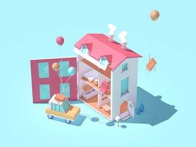 House house dolls design construction character car c4d architecture 3d
