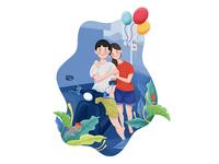 Anniversary love travel lover texture illustration 2d