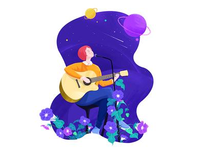 Singer girl singer texture illustration 2d