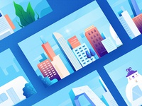 RuningCity blue color 2d art city illustration