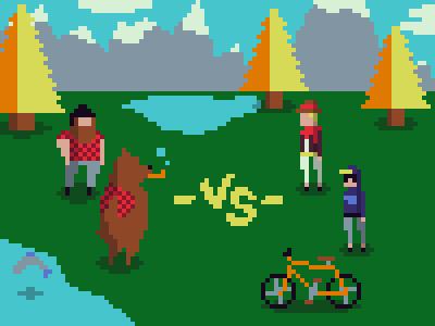 Lumbee Jack and Watson pixel 8-bit bear lumberjack plaid hipster tree mountain vs video game