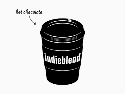 """indieblend"" Logo logo cup hot chocolate music blog coffee"