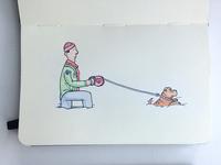 Walking the dog in Russian winter