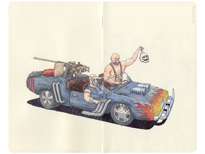 Post Apocalyptic Tachanka (War Vehicle) 😆 convertible watercolor tachanka artwork vehicle madmax dodge machinegun tuned car drawing illustration