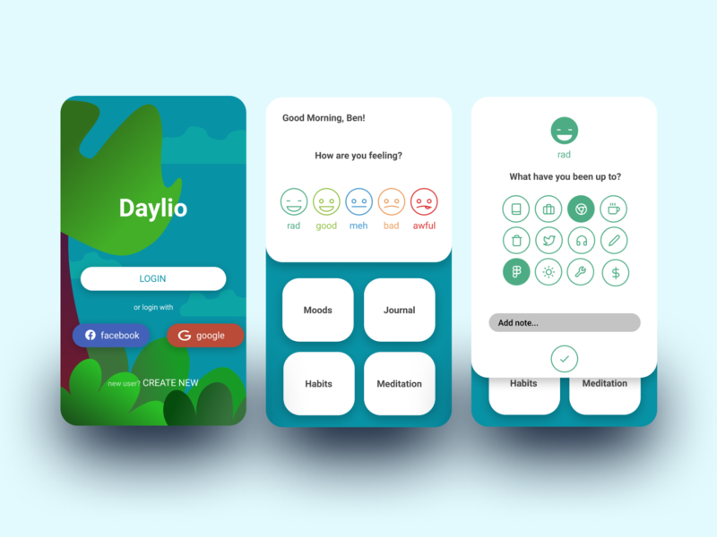 Daylio App Redesign journal habits mood moodtracker meditation design figma