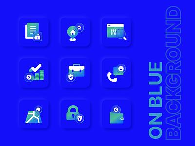 Icons for Social Go on Blue Background mobile glass glassmorphism icon ui branding design