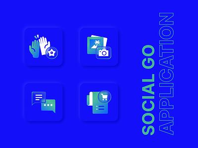Icon for Social Go Application design vector glassmorphism glass icon ui