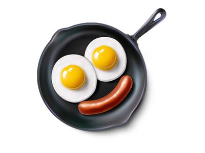 Smiling breakfast food emoticon smile eggs