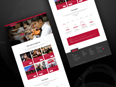 Kaufman Music Center - Donation Page Hi fi landing page cards website website design user experience user interface ui ux nonprofit minimal material design layout high fidelity figma donation clean dark red charity education