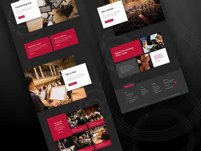 Kaufman Music Center - Homepage Hi fi cards landing page wireframe website web design user experience user interface ui ux nonprofit mockup minimal material design layout high fidelity figma clean red dark homepage