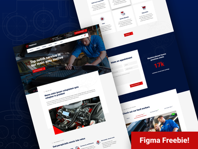 Figma Freebie - Auto Repair Homepage design layout homepage automotive car repair free download freebie figma material icons icons web design landing page mockup user experience user interface ux ui high fidelity clean
