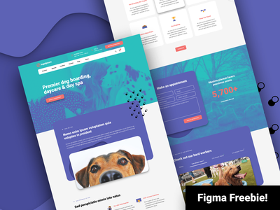 Figma Freebie - Dog Daycare Homepage mockup landing page high fidelity user inteface user experience ui ux bright design web design icons material icons figma freebie download free daycare dog homepage layout