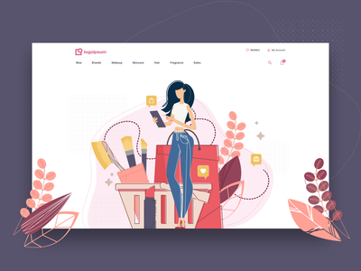 Cosmetics Store Header web design site figma illustration store ecommerce makeup clean design homepage home colorful vector beauty cosmetics landing page header heroshot website high fidelity