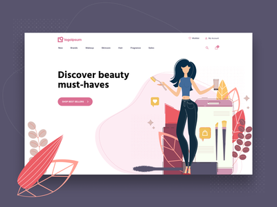 Cosmetics Store Header website web design vector store site makeup landing page illustration homepage home high fidelity heroshot header figma ecommerce design cosmetics colorful clean beauty