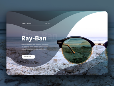 Brand Landing Page Header - Rayban ocean heroshot ecommerce design brand ui user inteface websites site store landing page homepage website header figma design bold clean waves high fidelity ecommerce