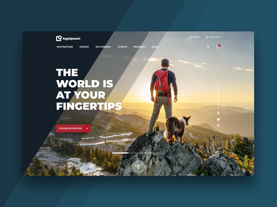 Travel Agency Header travel travel agency bold design ecommerce header heroshot high fidelity home homepage landing page website web design interface store site outdoors ui user inteface ux