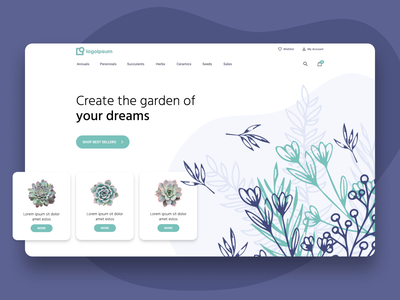 Garden Store Header mockup landing page vector ux user experience high fidelity ui user interface layout figma ecommerce plants garden illustration design homepage home website