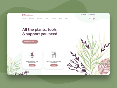 Garden Store Header - Pink & Green Pastels user experience vector ux landing page ui user inteface layout figma high fidelity ecommerce icons plants garden illustration design homepage home website heroshot header