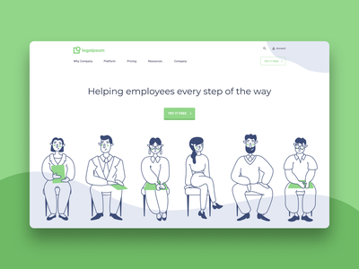 Human Resources Software Header interface technology mockup figma ux ui clean layout landing page software human resources vector people illustration design homepage home website heroshot header