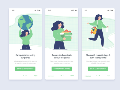 Onboarding Screens - Eco Rewards high fidelity ui clean illustration eco friendly green onboarding onboarding screens walkthrough vector people design mobile app interface ux layout mobile design minimal website
