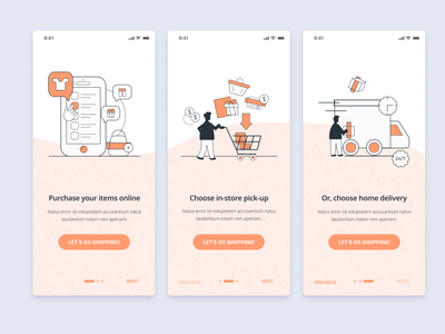 Onboarding Screens - Ecommerce Shopping high fidelity interface shopping delivery layout mockup website ux ui figma mobile app design mobile app people vector illustration onboarding screens onboarding ecommerce