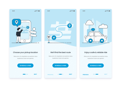 Onboarding Screens - Shuttle Scheduling App clean app blue illustration high fidelity figma onboarding screens interface layout mobile design onboarding ecommerce people transportation ui ux vector website mobile app