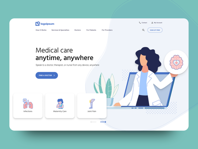 Telehealth Homepage Header icons layout design user experience web design user interface illustration figma landing page ux ui doctor hospital medicine healthcare telehealth heroshot header home homepage