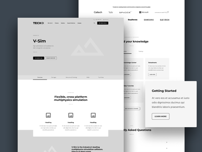 Tech X Wireframe - Product Detail Page website wireframe ux ui user interface user experience b2c b2b saas technology tech software redesign detail page product page mockup design layout landing page clean