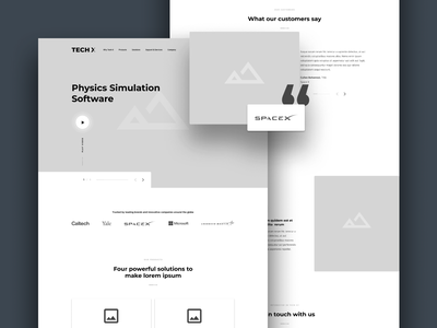 Tech X Wireframe - Homepage clean layout design mockup landing page homepage home redesign software technology tech saas b2c b2b user experience user interface ui ux wireframe website