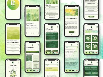 Recovery International App Design illustrator ux logo design mobile app uiuxdesign ui