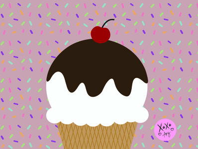 Hot Fudge Ice Cream food art digital art colorful color graphic design digital illustration adobe illustrator