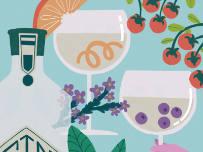 Gin tonic tonic gin illustration friends color drinks