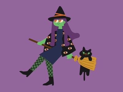 Green witch green purple cat witch halloween october spooky