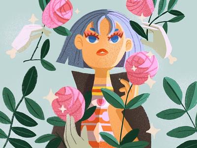 Pamanrez flower rose character character design feminine color illustration