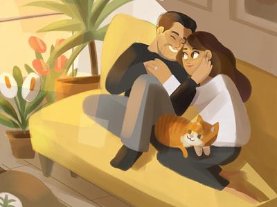 Victor y Ximena light cat couple character design illustration