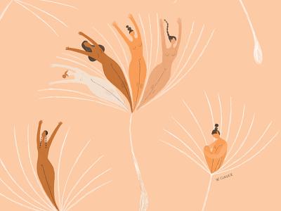 Dientes de león texture dandelion pattern character design flower feminine illustration