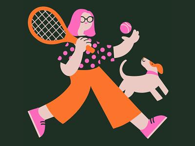 Elo et Milu covid19 color feminine flower character design illustration sport pink portrait pet dog ten friends friendship