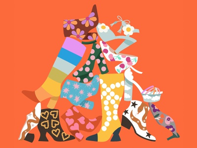 Shoes everywhere shoes store butrich collection character design illustration color fashion boots high heels shoes