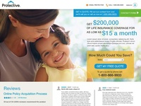 Protective Life Insurance skinny landing page